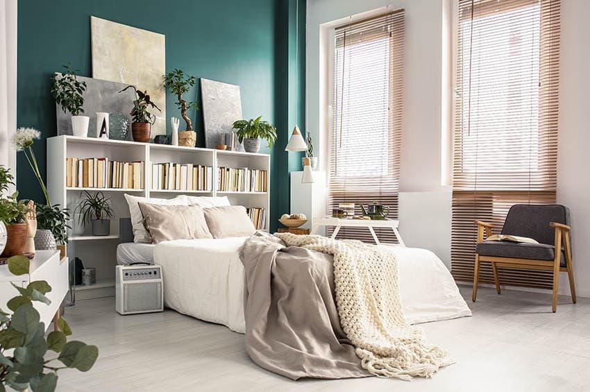 Master bedroom with beige blinds