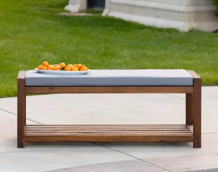 Modern acacia wood padded outdoor bench