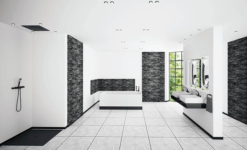 Modern bathroom with rain shower head and wand