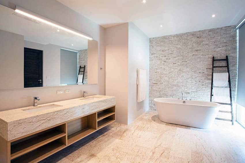 Modern bathroom with stone look vinyl sheet flooring