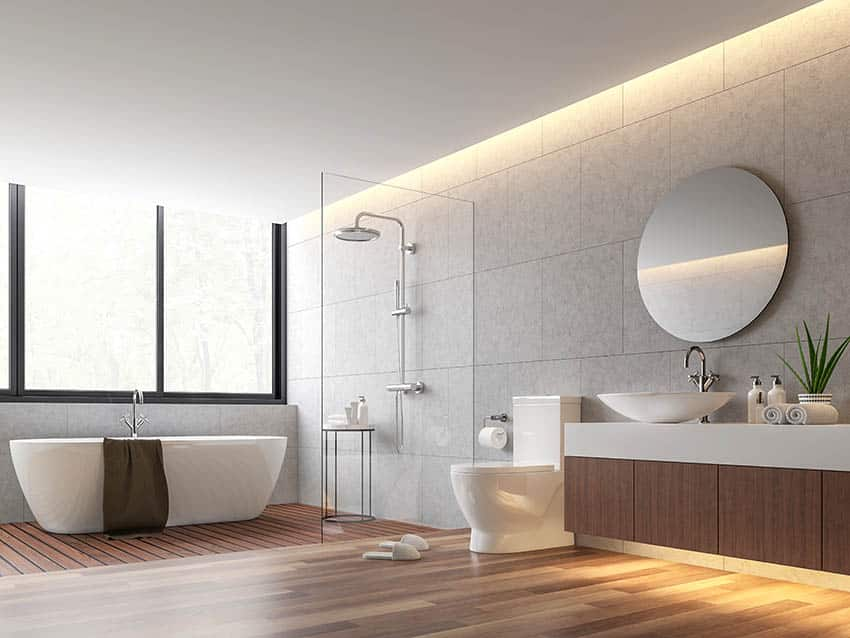 Modern bathroom with wet room shower with teak floors and freestanding tub