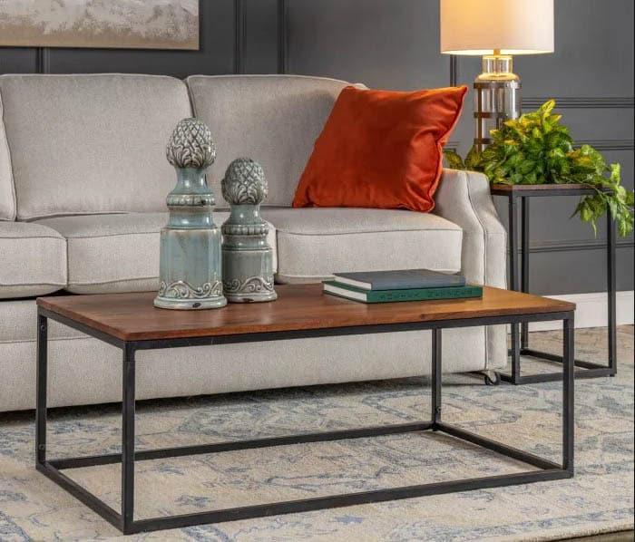 Modern coffee table with acacia wood top