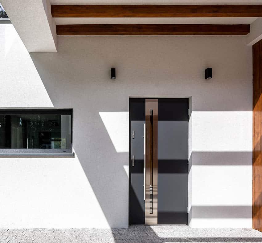 Modern front door no brickmold trim