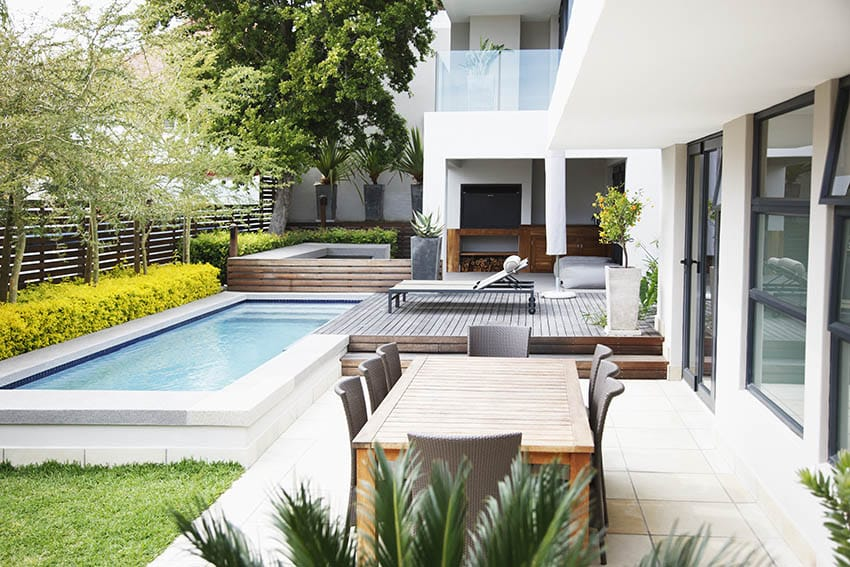 Modern home with backyard plunge pool