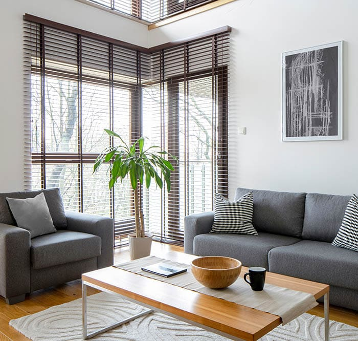 Modern living room with brown blinds