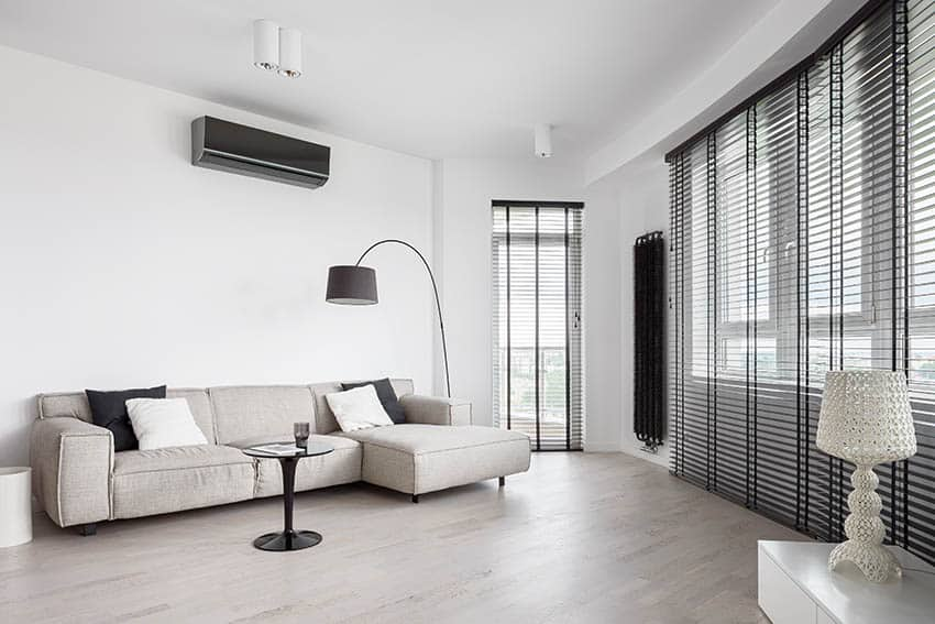 Modern living room with gray blinds