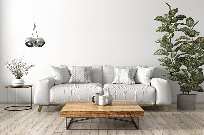 Modern living room with wood coffee table