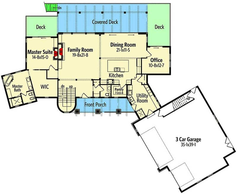 Mountain house floorplan with 3 car garage