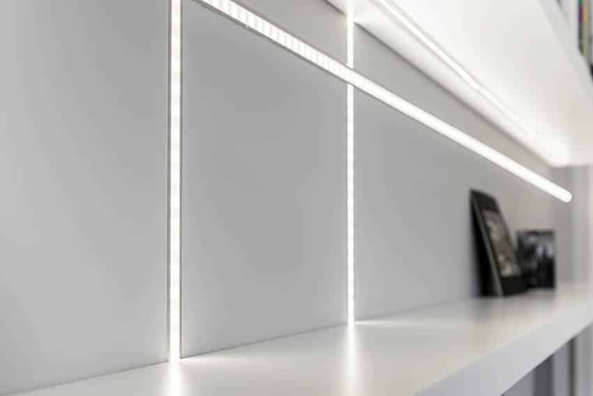 Shelving with led light strips