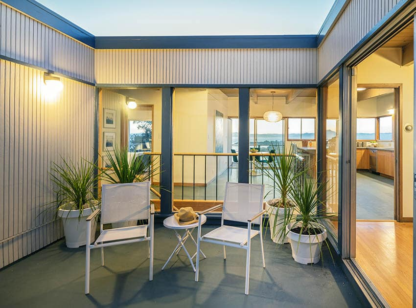 Small patio with powder coated steel furniture