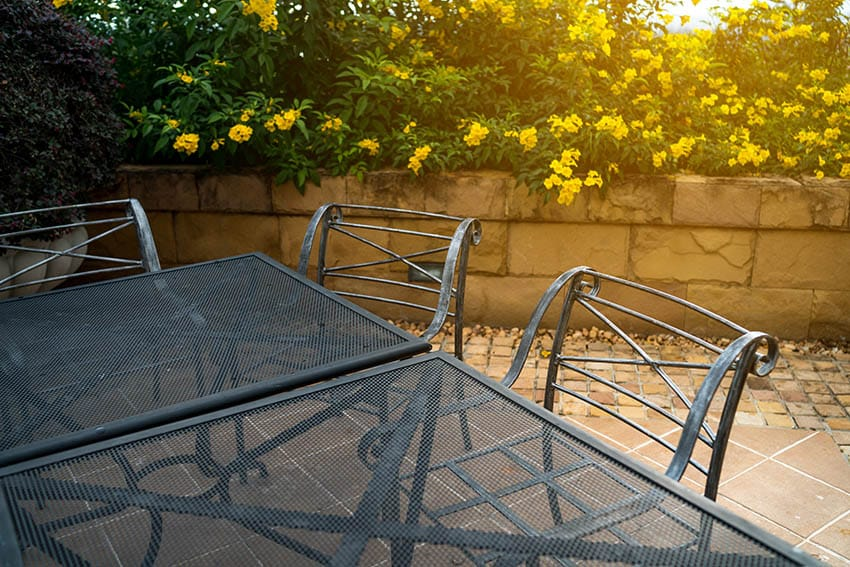 Steel patio furniture with black electric coating