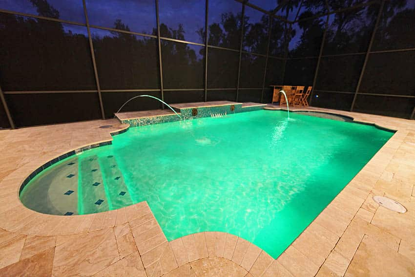 Travertine pool patio with water features