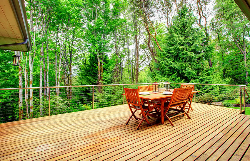 Western red cedar deck with forest views