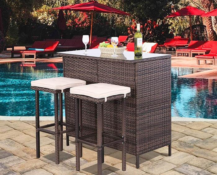 Wicker patio bar with seats