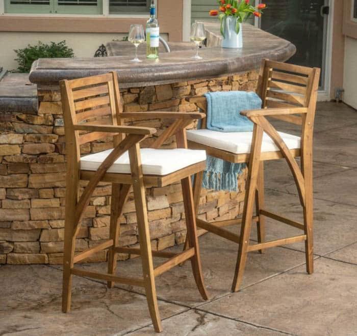 Acacia outdoor bar stools with teak finish design