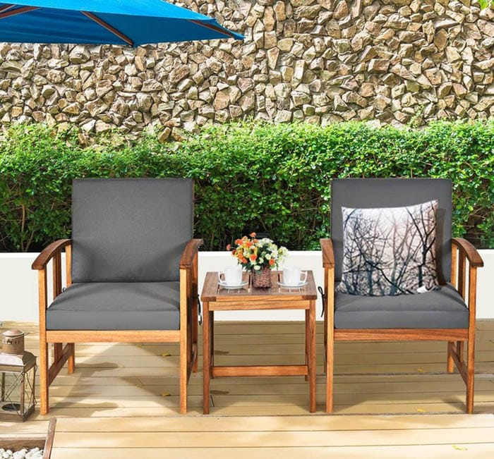 Acacia outdoor chair table set with cushions