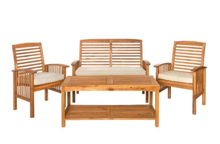 Acacia wood outdoor furniture loveseat chairs table