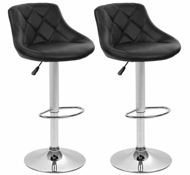 Adjustable height faux leather bar stools