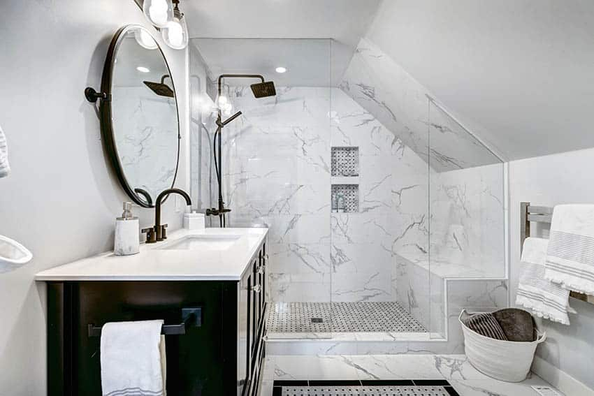 Attic bathroom with cultured marble walk in shower