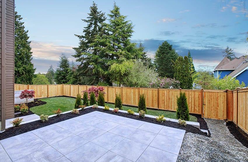 Backyard poured concrete patio