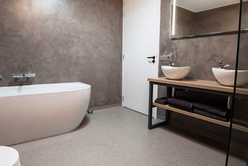 Bathroom with terrazzo concrete floor