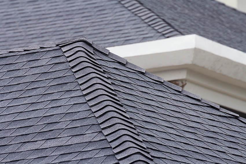 Black asphalt roof shingles