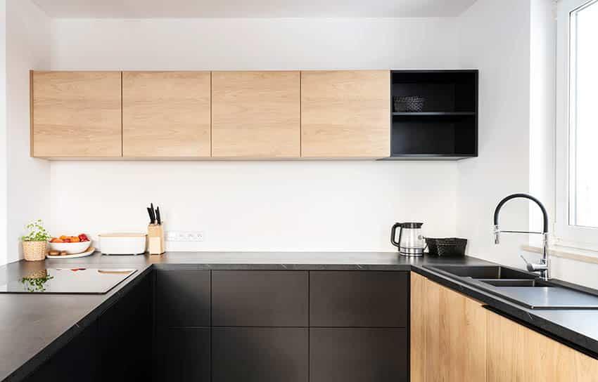 Black leathered granite kitchen countertops