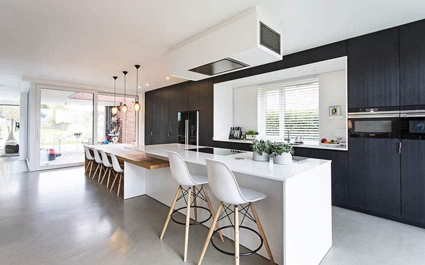 Black white minimalist kitchen with polished concrete floors