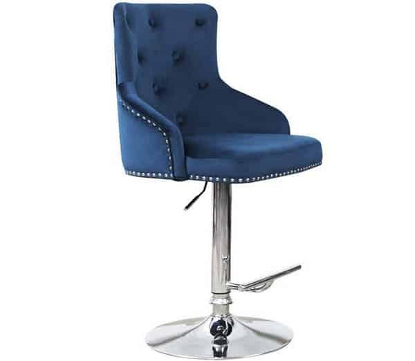 Blue velvet swivel spectator height bar stools