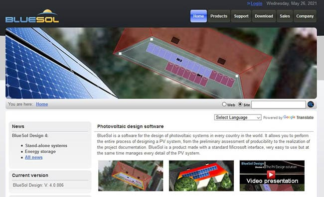 Bluesol photovoltaic design software
