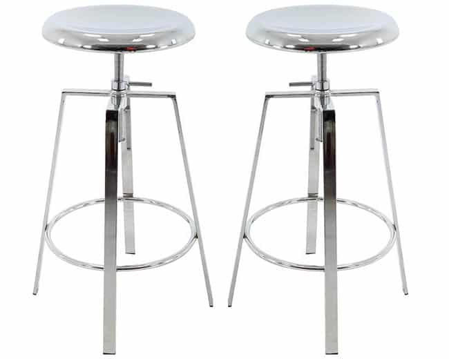 Chrome bar stools with adjustable height
