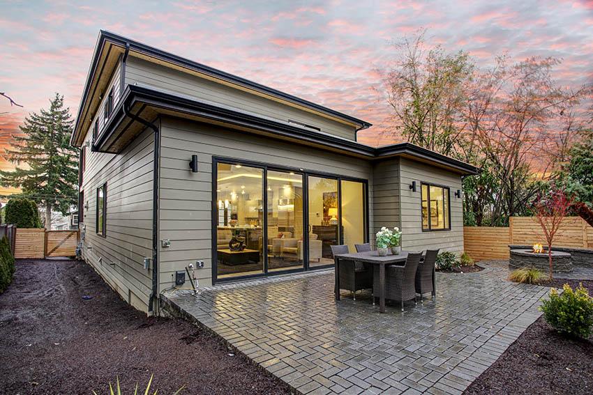 Contemporary backyard with paver patio