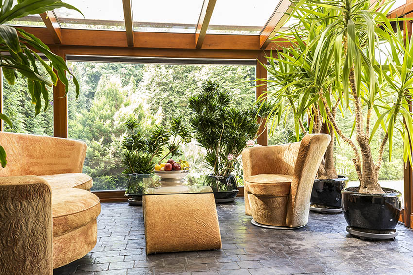 Covered patio with potted palm trees concrete pavers
