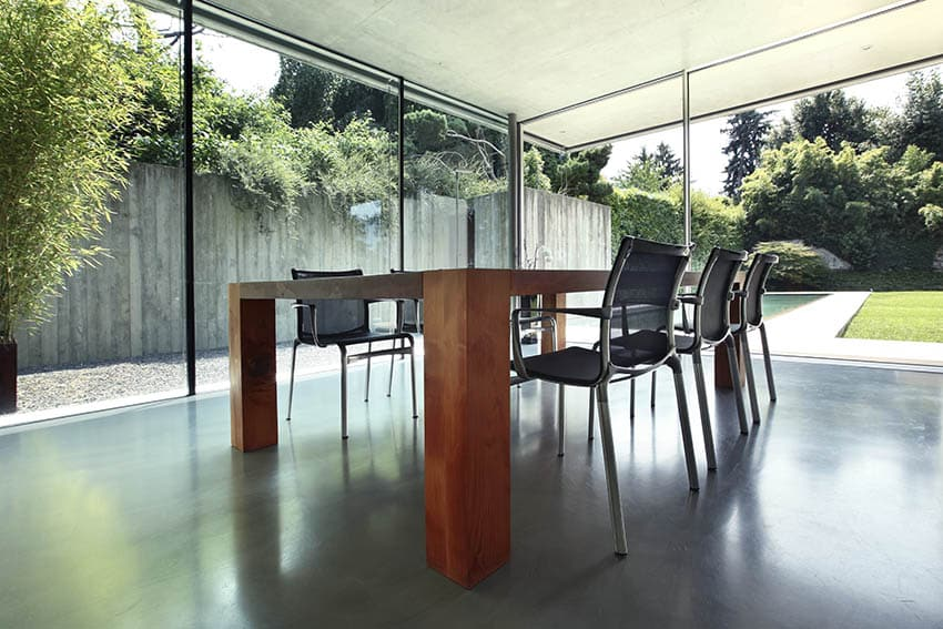 Dining room with black polished concrete floors