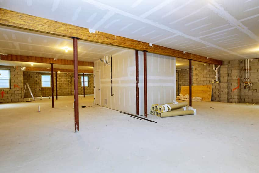 Finished basement drywall with insulation in ceiling
