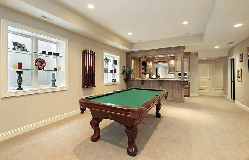 Game room man cave with carpet and pool table