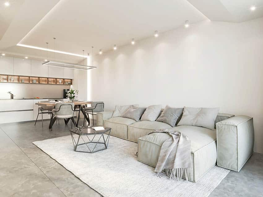 Garage man cave conversion with polished concrete floors downlights kitchen sectional sofa