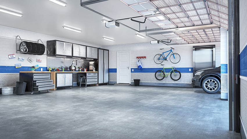 Garage with honed polished concrete floors