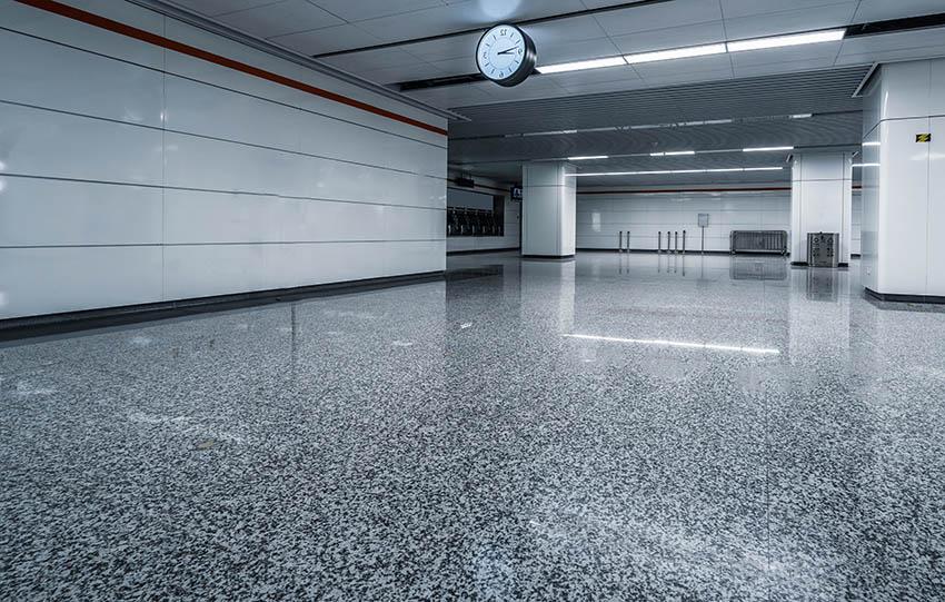 Garage with stone epoxy floors