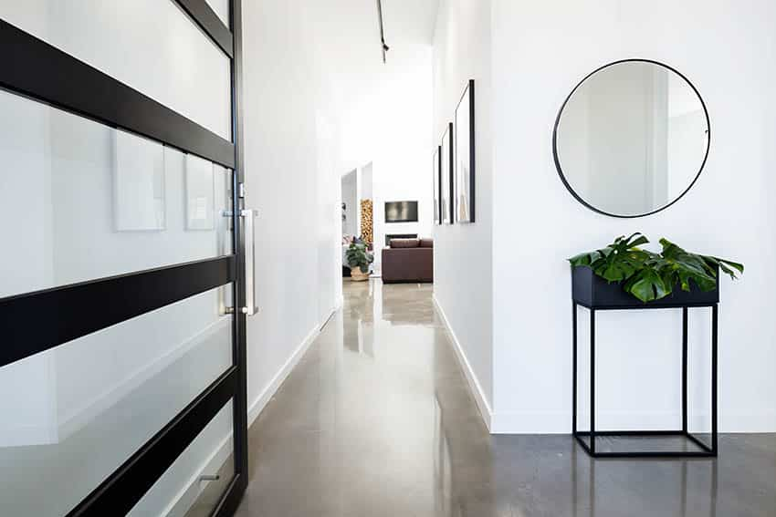 Home entryway with polished concrete floors