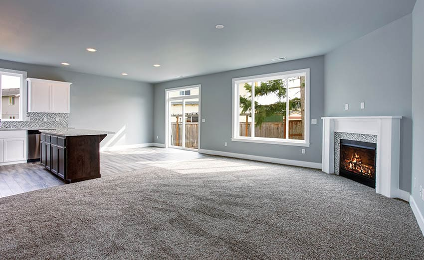 Living room with nylon carpet fireplace