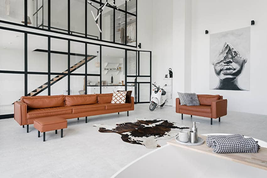 Luxury loft living room with polished concrete flooring