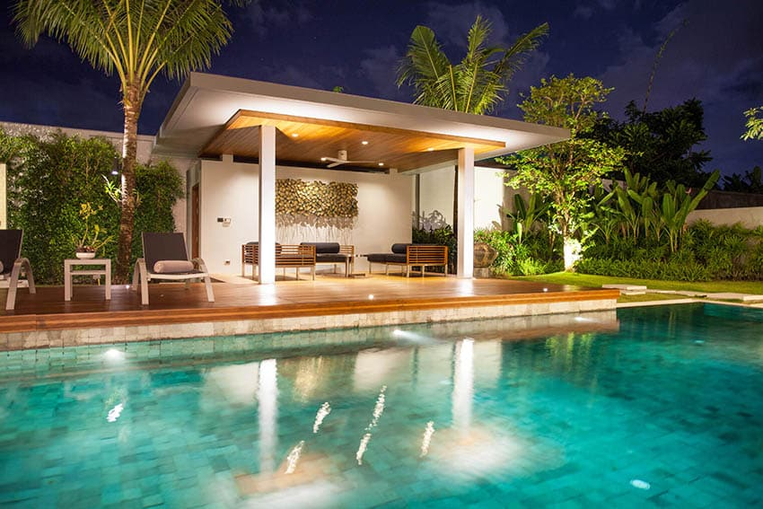 Luxury tile swimming pool with pavilion