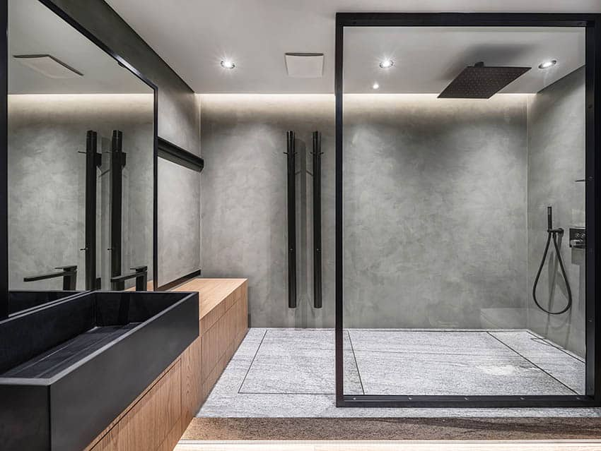 Modern bathroom with gray cultured marble walk in shower