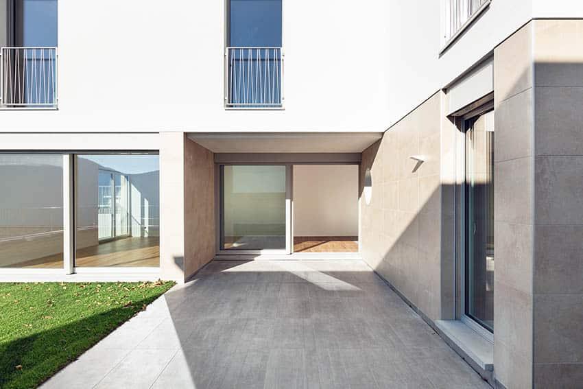 Modern concrete patio