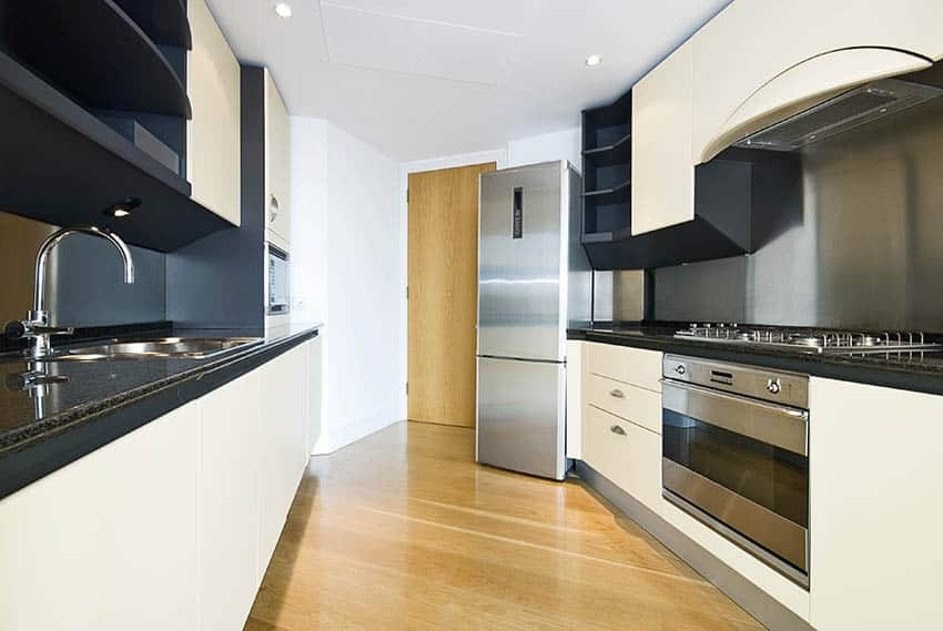 Modern fitted kitchen with granite look laminate countertops
