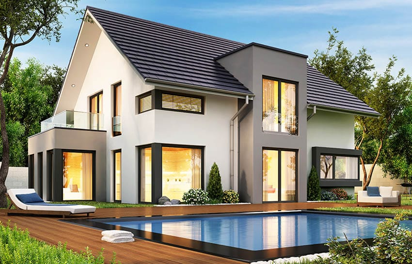Modern house with black roof shingles