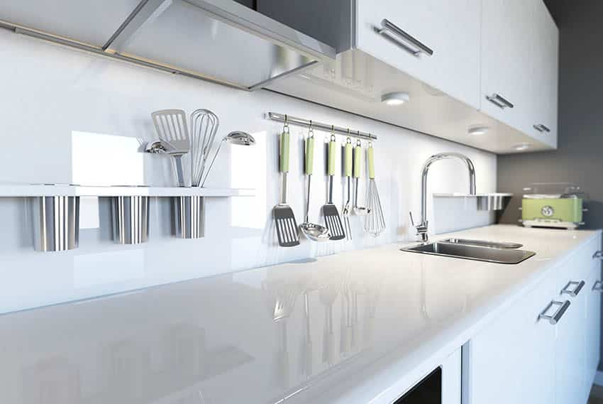 Modern kitchen with white laminate countertops white cabinets