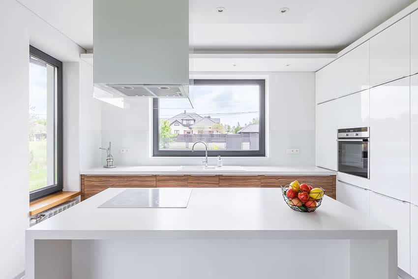 Modern kitchen with white laminate waterfall island white cabinets