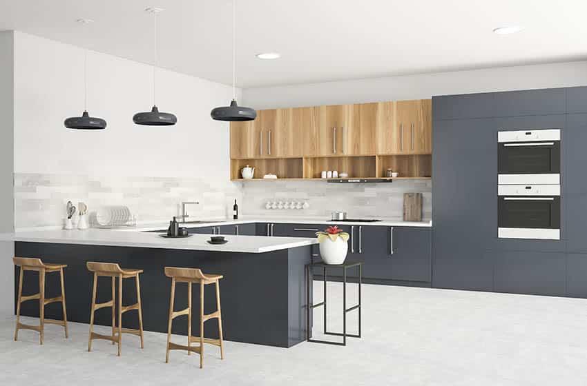 Modern kitchen with white polished concrete floors gray cabinets white quartz countertops